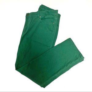 LRL Green Denim Straight Leg Jeans, Size 18W